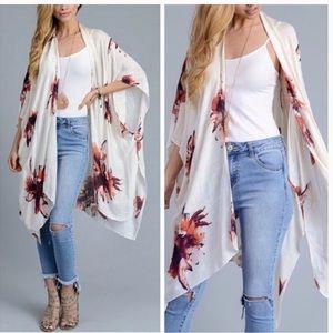 Cream color floral kimono